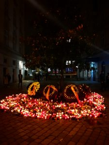 Vienna terror attack flowers and candles